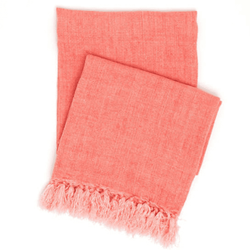 Laundered Linen Coral Throw <font color=a8bb35> NEW</font>