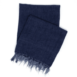 Laundered Linen Indigo Throw <font color=a8bb35> NEW</font>