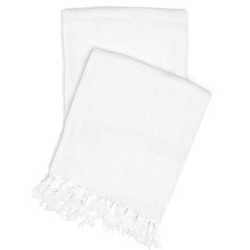 Laundered Linen White Throw <font color=a8bb35> NEW</font>