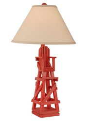 Life Guard Chair Table Lamp in Red