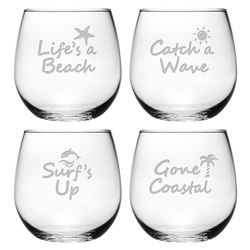 Life's a Beach Stemless Wine Glass - Set of 4 *NEW