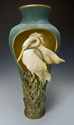 Ceramic Heron Cut Out Pedestal Vase -  Limited Edition