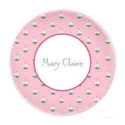 Little Sailboat Pink Plates- Set of Four