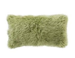 Longwool Combed Sheepskin Spring Green Decorative Pillow