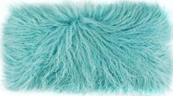 Longwool Tibetan Sheepskin Pale Teal Decorative Pillow