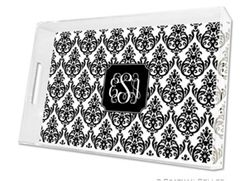 Madison Damask White with Black Lucite Tray in Three Sizes