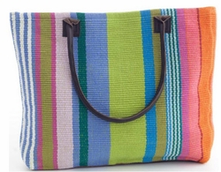 Mellie Stripe Woven Cotton Tote Bag<font color=a8bb35> 20% OFF</font>