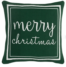 Merry Christmas Pillow Green