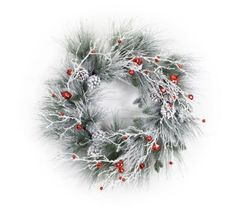 Merry Merry Flocked Pine and Bell Wreath  *Low Stock