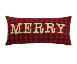 Merry on Red Plaid Pillow *NEW