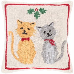 Mistletoe and Cat Hooked Pillow