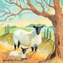 Mother Sheep and Lamb Beach Print *NEW