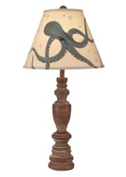 Sandlewood Candlestick Table Lamp with Seamist Octopus Shade