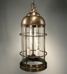 Nautical Two-Light Hanging Fixture with Clear Seedy Glass