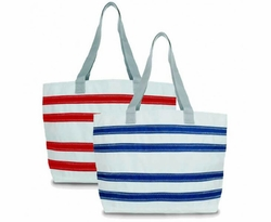 Nautical Stripe Medium Sailcloth Beach Tote in Two Colors