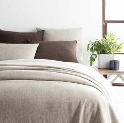 Noah Linen Grey Bedspread <font color=a8bb35> NEW</font>