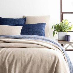 Noah Linen Natural Bedspread <font color=a8bb35> NEW</font>
