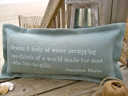 Ocean: A Body Of Water Coastal Phrase Pillow