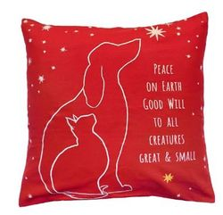 Peace on Earth Pillow  <font color=a8bb35> NEW</font>