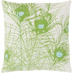 Peacock Feathers Pillow - Green