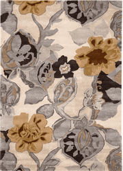 Petal Pusher Taupe Hand Tufted Rug <font color=a8bb35> NEW</font>