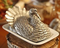 Pewter Turkey Butter Dish<font color=a8bb35> NEW</font>