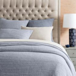 Pick Stitch Navy Matelasse Coverlet <font color=a8bb35> NEW</font>