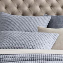 Pick Stitch Navy Matelasse Sham<font color=a8bb35> NEW</font>