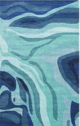 Pigments Dark Blue Hand Tufted Rug <font color=a8bb35> NEW</font>
