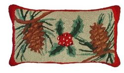Pine Cones & Holly Christmas Pillow  <font color=a8bb35> NEW</font>
