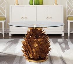 Pineapple Coffee Table in Gold and Glass Top