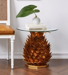 Pineapple Side Cocktail Table in Gold and Glass Top