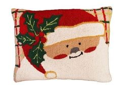 Plaid Santa Christmas Pillow  <font color=a8bb35> NEW</font>