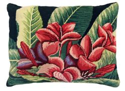 Plumeria Needlepoint Pillow