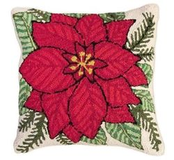 Poinsettia Christmas Pillow  <font color=a8bb35> NEW</font>