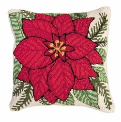 Poinsettia Christmas Pillow