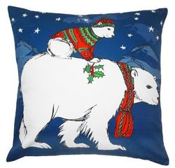 Polar Bear Christmas Pillow <font color=a8bb35> NEW</font>