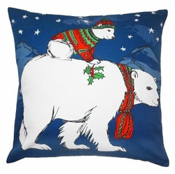 Polar Bear Christmas Pillow