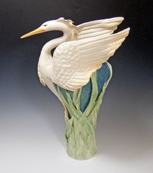 Preying Heron Ceramic Vase
