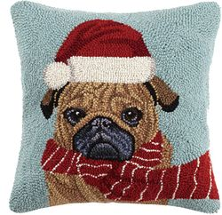 Pug in Santa Hat and Scarf Pillow *NEW