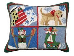 Puppy Stockings Christmas Pillow <font color=a8bb35> NEW</font>