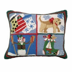 Puppy Stockings Christmas Pillow