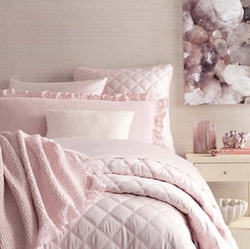 Quilted Silken Solid Pink Coverlet