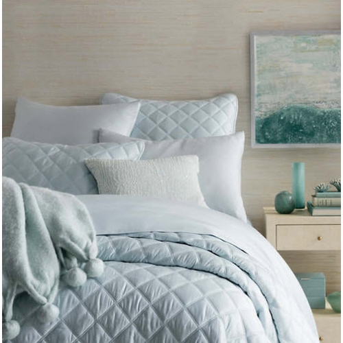 Quilted Silken Solid Robin's Egg Blue Coverlet