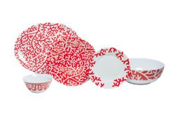 Red Coral Melamine Dinner Set with Platter