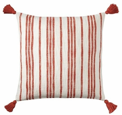 Red Stripe Cotton Pillow <font color=a8bb35> NEW</font>