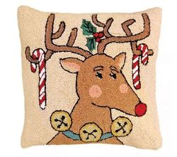 Reindeer and Candy Cane Christmas Pillow <font color=a8bb35> NEW</font>