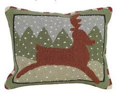 Reindeer Christmas Pillow <font color=a8bb35> NEW</font>