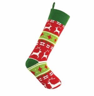 Reindeer Fair Isle Knit Christmas Stocking<font color =a8bb35> Sold out</font>