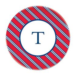 Repp Tie Red & Navy Plates - Set of Four